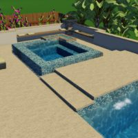 Raised spa with fire pit seating area.