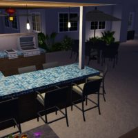 Night shot and bar counter area in glass tile.